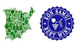 Collage der Trauben-Wein-Karte von Koh Samui und von bestem Wein-Schmutz-Stempel vektor abbildung