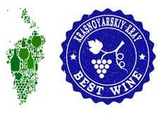 Collage der Trauben-Wein-Karte von Krasnoyarskiy Kray und bester Wein-Schmutz-Stempel vektor abbildung