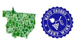 Collage der Trauben-Wein-Karte von Mato Grosso State und von bestem Wein-Schmutz-Stempel vektor abbildung