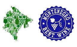 Collage der Trauben-Wein-Karte von Montenegro und von bester Wein-Schmutz-Robbe lizenzfreie abbildung