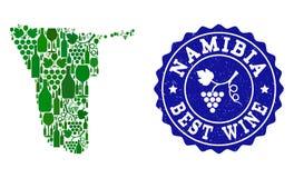 Collage der Trauben-Wein-Karte von Namibia und von bester Wein-Schmutz-Robbe vektor abbildung