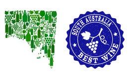 Collage der Trauben-Wein-Karte von Süd-Australien und von bester Wein-Schmutz-Robbe vektor abbildung