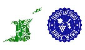 Collage der Trauben-Wein-Karte von Trinidad und Tobago und von bester Wein-Schmutz-Robbe lizenzfreie abbildung