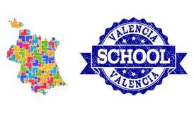 Collage der Trauben-Wein-Karte von Valencia Province und erstklassige Weine stempeln vektor abbildung