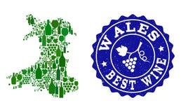 Collage der Trauben-Wein-Karte von Wales und von bestem Wein-Schmutz-Wasserzeichen stock abbildung