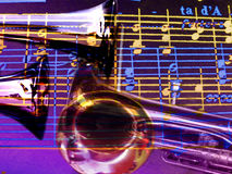 Collage der Trompeten und der Musik lizenzfreies stockbild