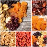 Collage der unterschiedlichen Art der trockenen Früchte und der Nüsse Stockfoto