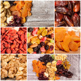 Collage der unterschiedlichen Art der trockenen Früchte und der Nüsse Lizenzfreie Stockbilder
