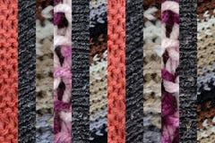 Collage der unterschiedlichen Wolle, dünne vertikale Streifen Stockbilder
