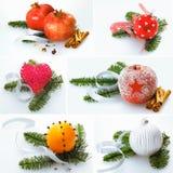 Collage der Weihnachtsdekorationen Lizenzfreies Stockfoto