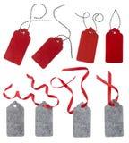 Collage des étiquettes de cadeau d'isolement sur le fond blanc Image libre de droits