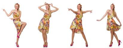 Collage des Blickes der Frau in Mode lokalisiert auf Wei? stockbild