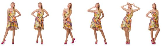 Collage des Blickes der Frau in Mode lokalisiert auf Wei? stockfoto