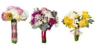 Collage des bouquets #1 de roses de pivoine Images libres de droits