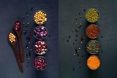 Collage des céréales et des légumineuses Fin vers le haut photographie stock libre de droits