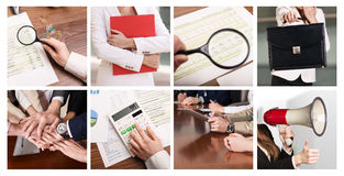 Collage des choses d'affaires photographie stock libre de droits
