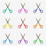 Collage des ciseaux colorés sur le fond blanc Photographie stock libre de droits