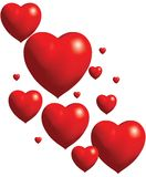 Collage des coeurs rouges de ballon Illustration Stock
