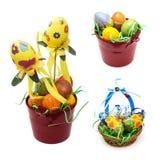 Collage des décorations colorées de Pâques Images libres de droits