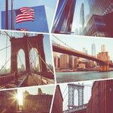 Collage des destinations de touristes populaires à New York LES Etats-Unis fond plus de ma course de portefeuille photo stock