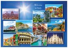 Collage des destinations italiennes importantes de voyage Photographie stock
