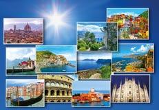 Collage des destinations italiennes importantes de voyage Images libres de droits