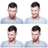Collage des expressions déloyales et astucieuses de visage Photographie stock libre de droits