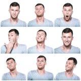Collage des expressions positives de visage Photos stock