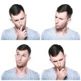 Collage des expressions réfléchies de visage Images stock