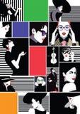 Collage des filles à la mode dans l'art de bruit de style Illustration de Vecteur