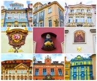 Collage des fragments des façades de vieilles maisons et de vieille architecture dans la vieille ville Image libre de droits