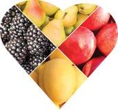 Collage des fruits et des baies sous forme de coeur Images libres de droits
