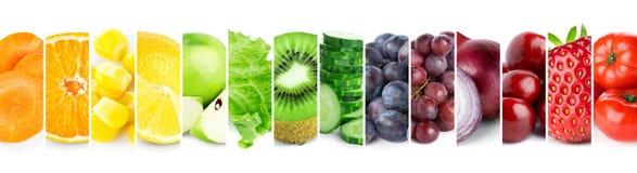 Collage des fruits et légumes de couleur Nourriture mûre fraîche image stock