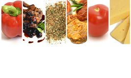 Collage des Gemüses, des Käses, des Fleisches und der Gewürze auf einem weißen Hintergrund stockbilder
