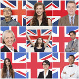 Collage des gens d'affaires se tenant contre le drapeau britannique Photo libre de droits