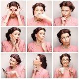 Collage des Gesichtes der jungen Frau stockfotografie