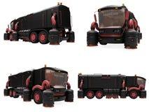 Collage des getrennten Konzeptwäsche-LKW Stockbild