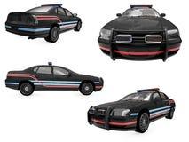 Collage des getrennten schwarzen Polizeiwagens Stockfotos