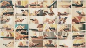 Collage des gleitenden und Schreibentouch Screen des intelligenten Telefons oder des Tablet-Computers stock footage