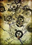 Collage des horloges sur le fond de cru Photographie stock libre de droits