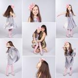 Collage des illustrations heureuses de petite fille Images stock