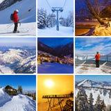 Collage des images de ski de montagnes Photographie stock libre de droits