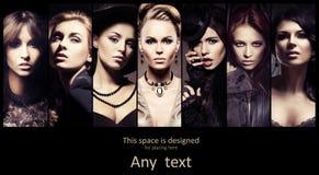 Collage des jeunes femmes dans de rétros vêtements Image libre de droits