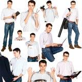 Collage des jungen Mannes mit den Bürogegenständen lokalisiert Lizenzfreie Stockfotos