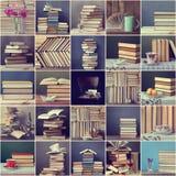 Collage des lifes immobiles avec des livres Images stock