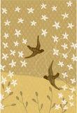 Collage des oiseaux et des diverses usines Photos stock