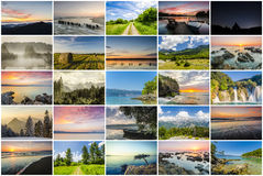 Collage des paysages Photos libres de droits