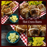 Collage des petits pains croisés chauds heureux de Pâques de style anglais Image libre de droits