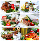 Collage des photographies des plats chauds de viande et de poisson Photo libre de droits