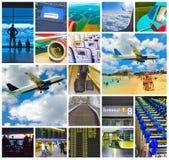 Collage des photos d'aéroport et d'avion Photographie stock libre de droits